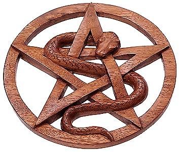 Windalf Pagan Pentagrama & serpentinas Madera Amuleto pentara Diámetro 23 cm – & Deseos Símbolo Pared