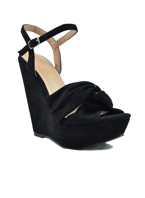 Chase & Chloe Gita-1 Detail Sling Back Criss-Cross Bow Detail Gita-1 Women's Wedge Sandal B07D989ZMJ 9 M US|Black 2d4417