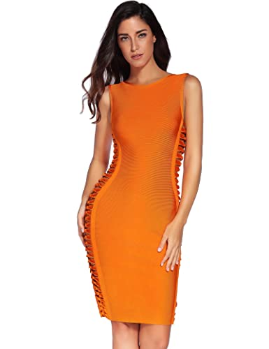 Meilun Sleeveless Side Weave Cut Outs Midi Cocktail Bandage Dress