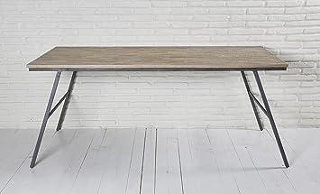 Wholesaler GmbH Esstisch Recycling Teak Grau 180x90x76 Cm Holz Metall Tisch Esszimmertisch