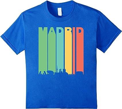 Retro 1970 de Madrid España paisaje Downtown Skyline Camiseta ...