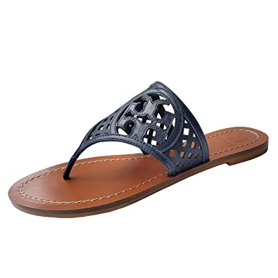 d6e9fa2185 Amazon.com | Tory Burch Thatched Perforated Flop Flop Sandal TB Logo |  Flip-Flops