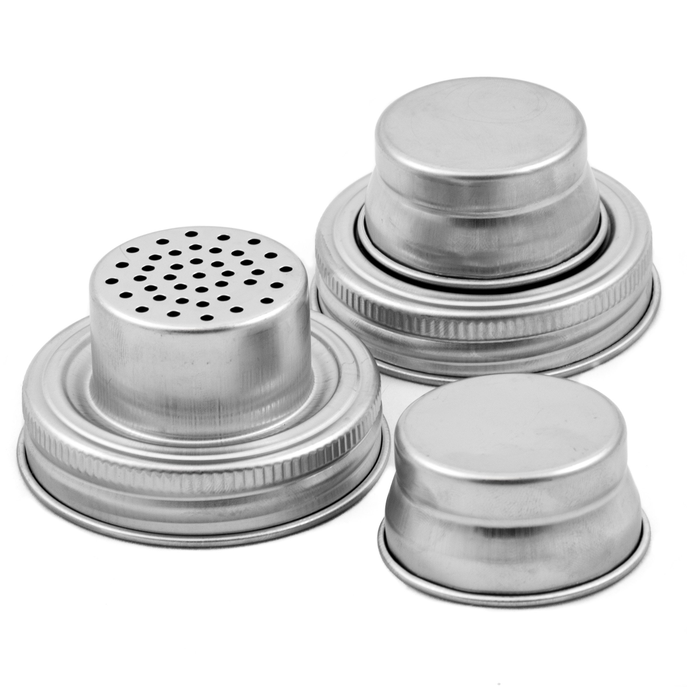 Mason Jar Shaker Lids - 2 Pack - Awesome to Shake Cocktails or Your Best Dry Rub - Mix Spices, Dredge Flour, Sugar & More - Fits Any Regular Mouth Canning Jar - Durable, Rust Proof Stainless Steel