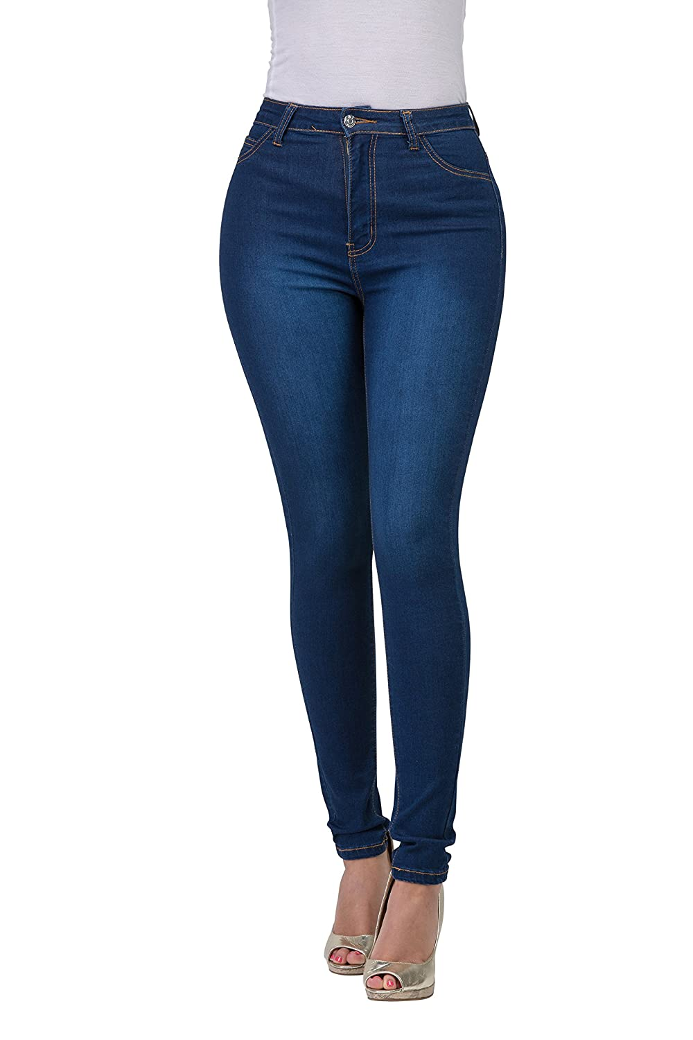 143Fashion High Rise-Waisted Women Juniors Colored Stretchy Skinny Butt Lift Jeans Plus Size