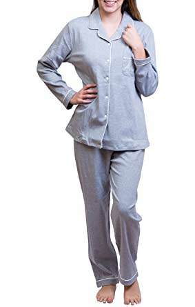Women 100% Cotton Soft Cozy Pajamas Set Button Front Long Sleeve Top  Sleepwear b56cce013