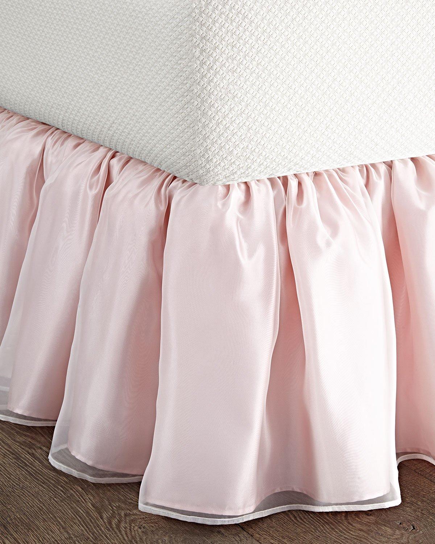 BU Double layered sheer & pink faux silk King & Queen size Bed skirt/ Dust ruffles as Bedding coordinates (King ( 78'' W x 80''L X 18''Drop))