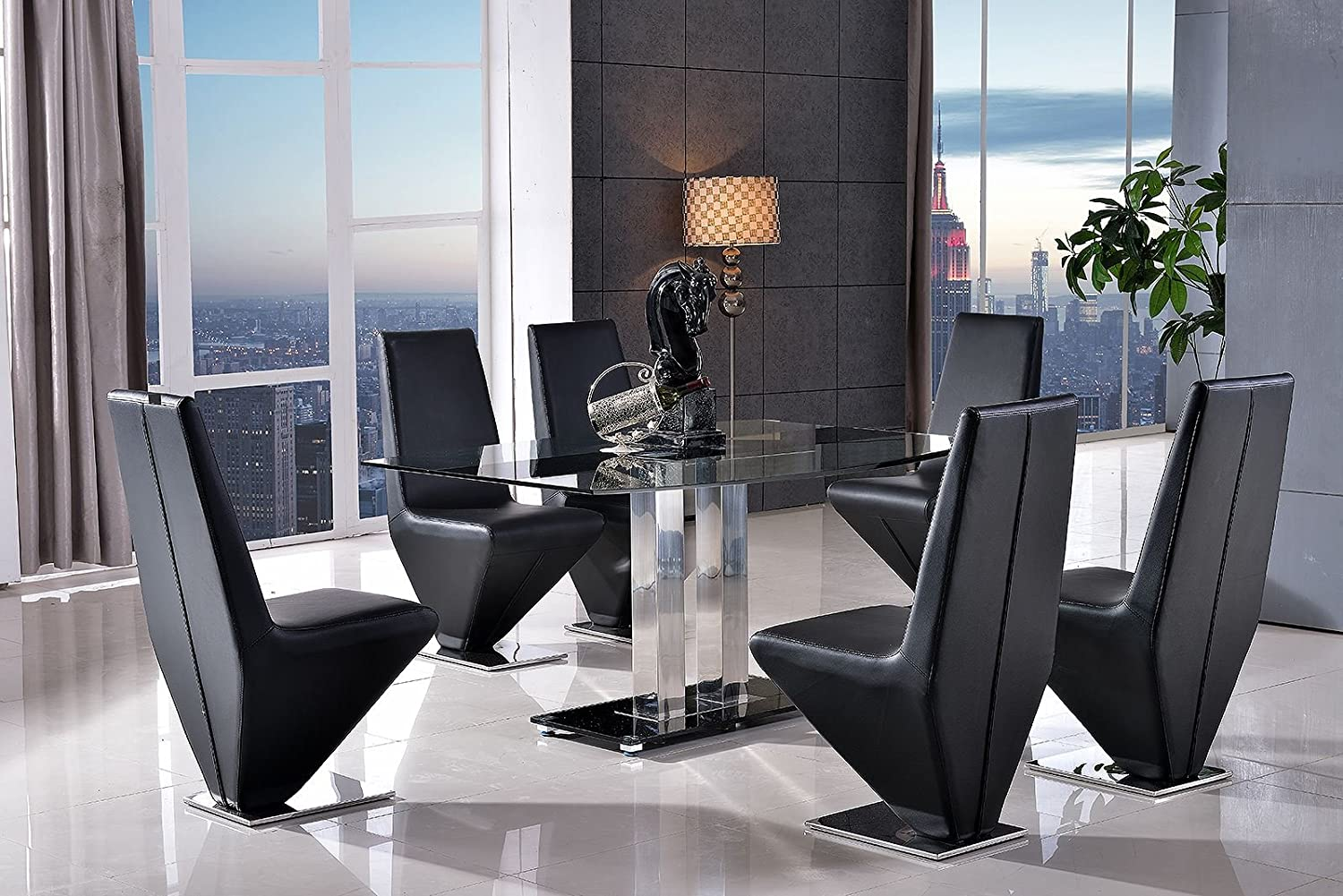Modern furniture direct roma designer glass dining table 4 rita black chairs amazon co uk kitchen home