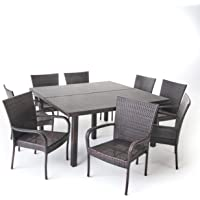 Great Deal Furniture 303925 Outdoor 9 Piece Square Dining Set