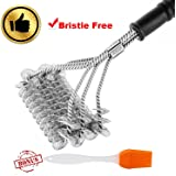 "OUREIDA BBQ Grill Brush Bristle Free - 17"" Safe Barbecue Grill Cleaner - 3 in 1 Stainless Steel Cleaning Bruses - Heavy Duty Grilling Accessories"
