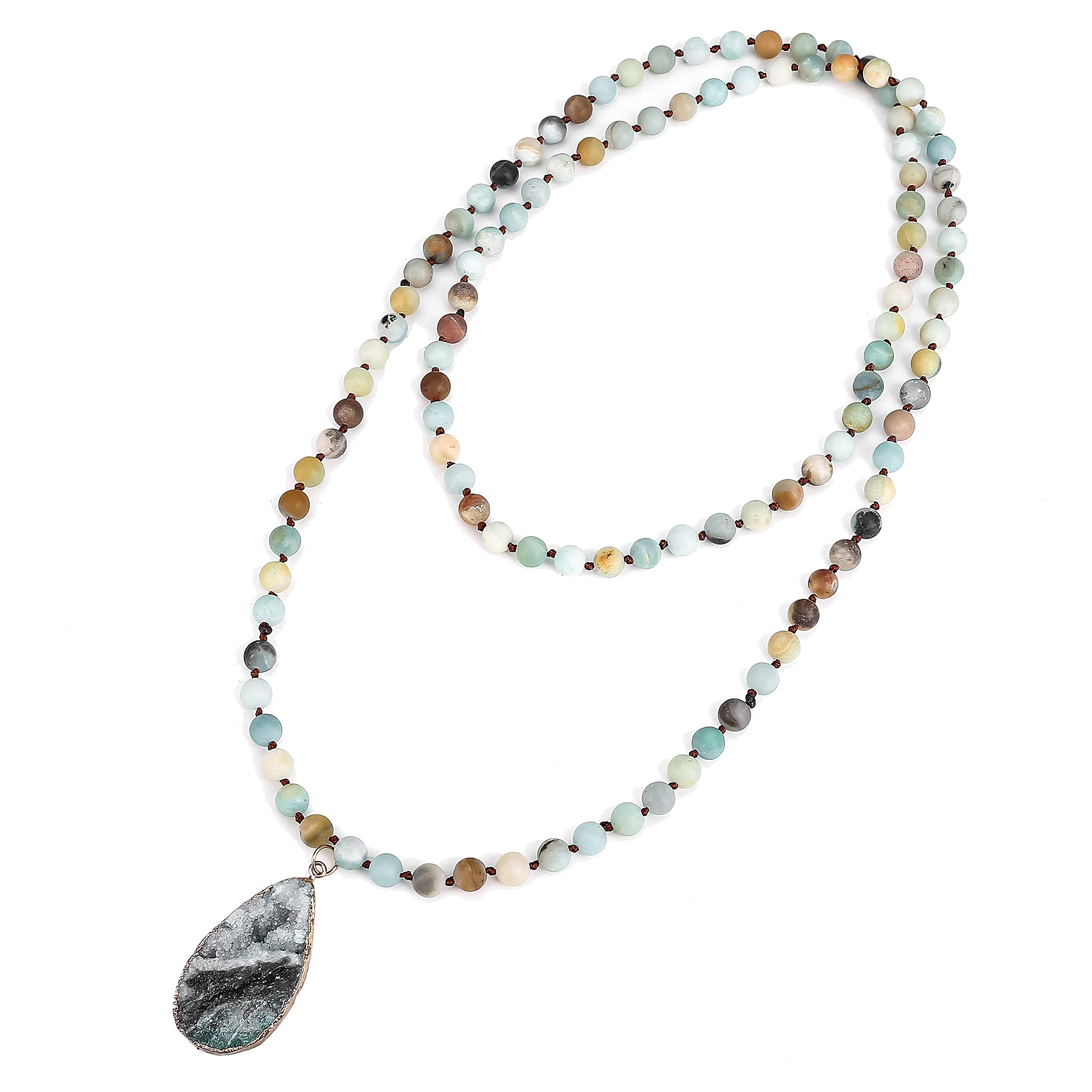 ZHEPIN Handmade Jewelry Natural Matte Amazonite Stone Endless Necklace Long Knotted Necklace for Women