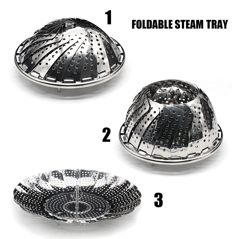TOPOKO Vegetable Steamer Basket, Fits Instant Pot Pressure Cooker 5/6 QT and 8 QT, 18/8 Stainless Steel, Folding Steamer Insert For Veggie Fish ...