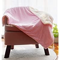 """CREVENT 30""""X40"""" Pink Thick Baby Blanket for Cold Weather with Sherpa Backing"""