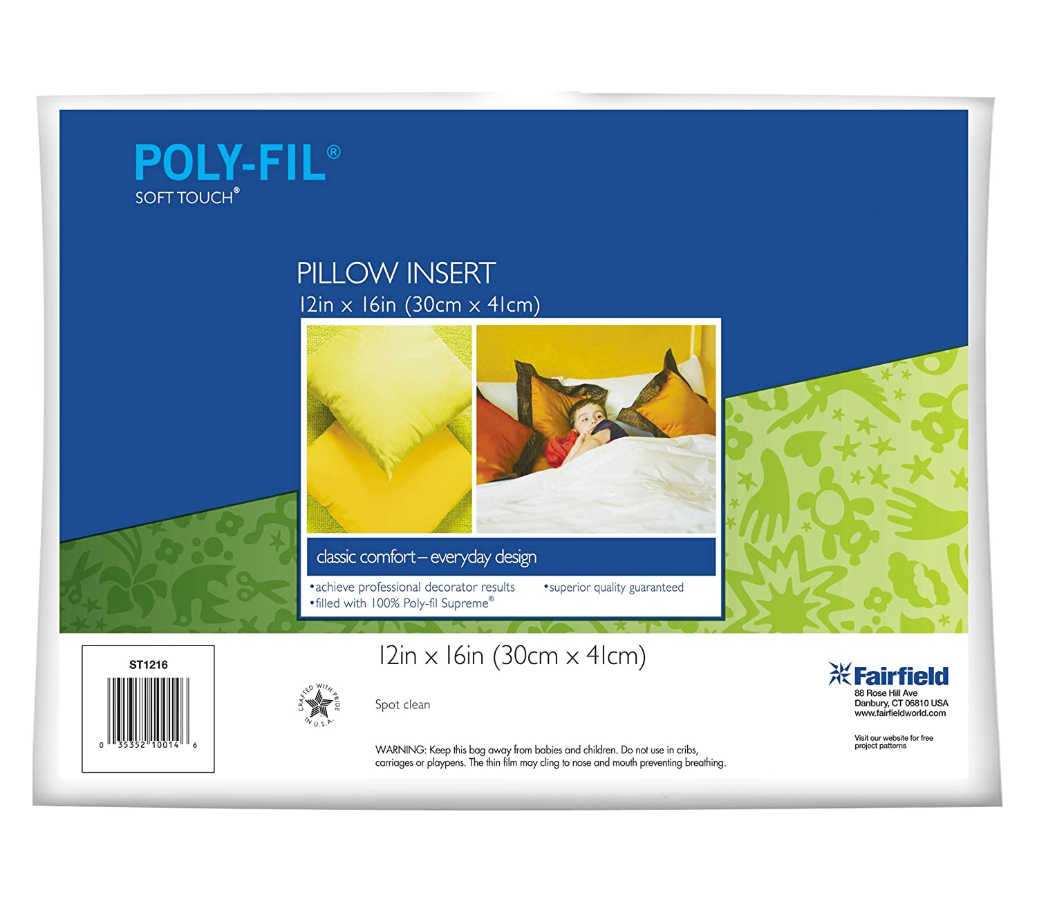 Fairfield Poly-Fil Soft Touch Rectangle Pillow, 12-Inch by 16-Inch, White, 1 Pillow ST1216B