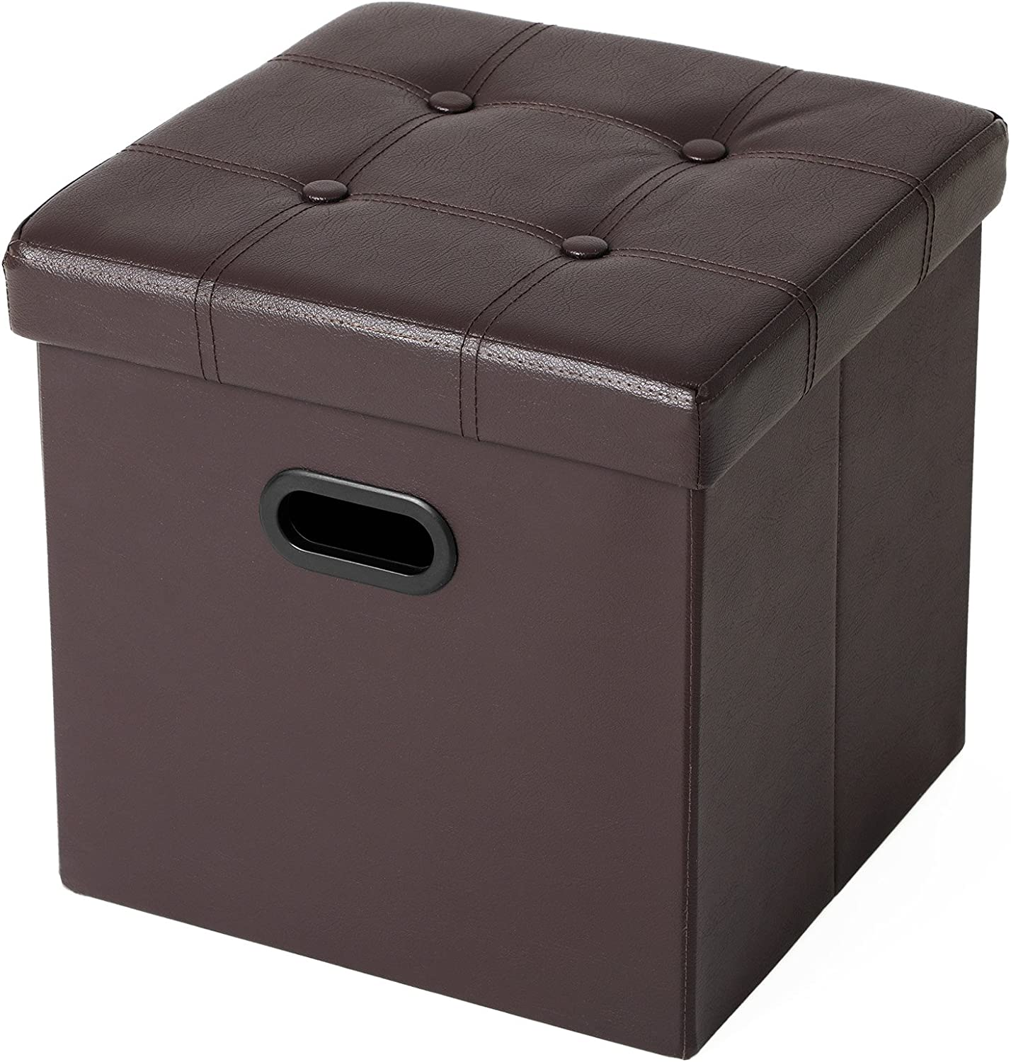 Songmics 15 X 15 X 15 Storage Ottoman Cube Footrest Stool Puppy Step Coffee Table With Hole Handle Holds Up To 660lbs Faux Leather Brown 15 Furniture Decor