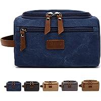 Dopp Kit for Men, Canvas Leather Travel Mens Toiletry Bag, Denim