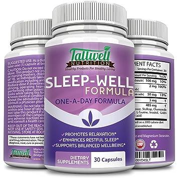 Melatonin Natural Sleep Aid Supplement, Calming Herbal Formula Helps You Relax to Improve Mood &