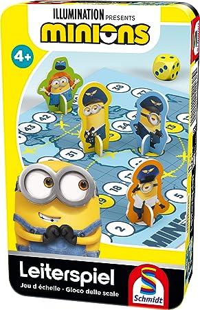 Schmidt Spiele- Minions, Juego de Escalera, Bring Mich mit Spiel in Der Metalldose, Color carbón (51438): Amazon.es: Juguetes y juegos