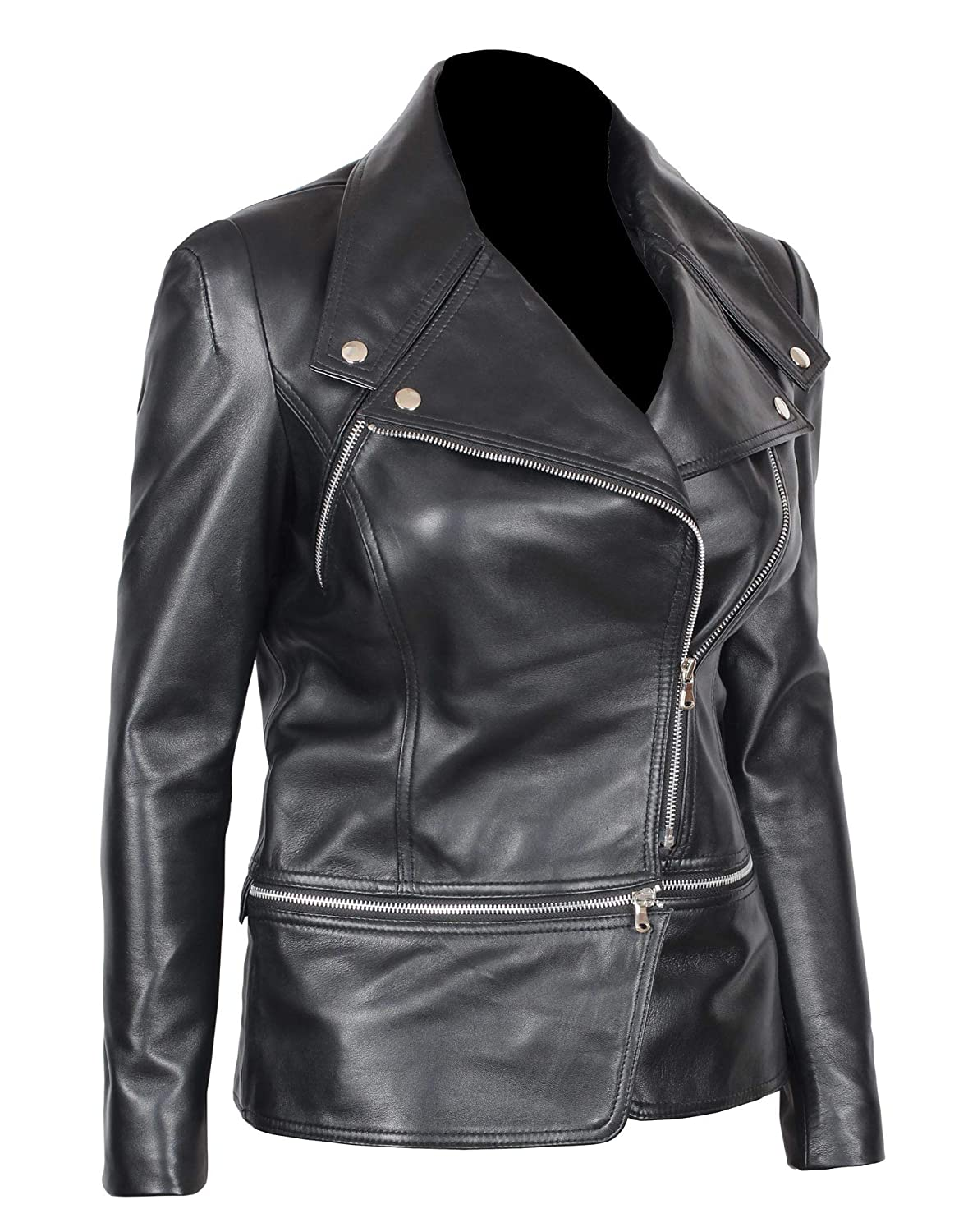 d8d402649526 Womens Black Leather Jacket - Genuine Lambskin Chocolate Brown Leather  Jackets for Women at Amazon Women s Coats Shop