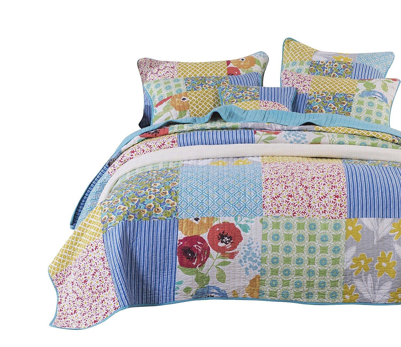 Tache Colorful Midsummer Dream Patchwork Floral Cotton Quilt Set (Twin) 2 Piece
