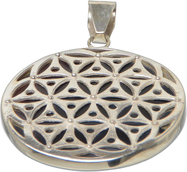 Design Stoodio - Colgante de plata de ley 925 con forma de flor de la vida y coral negro