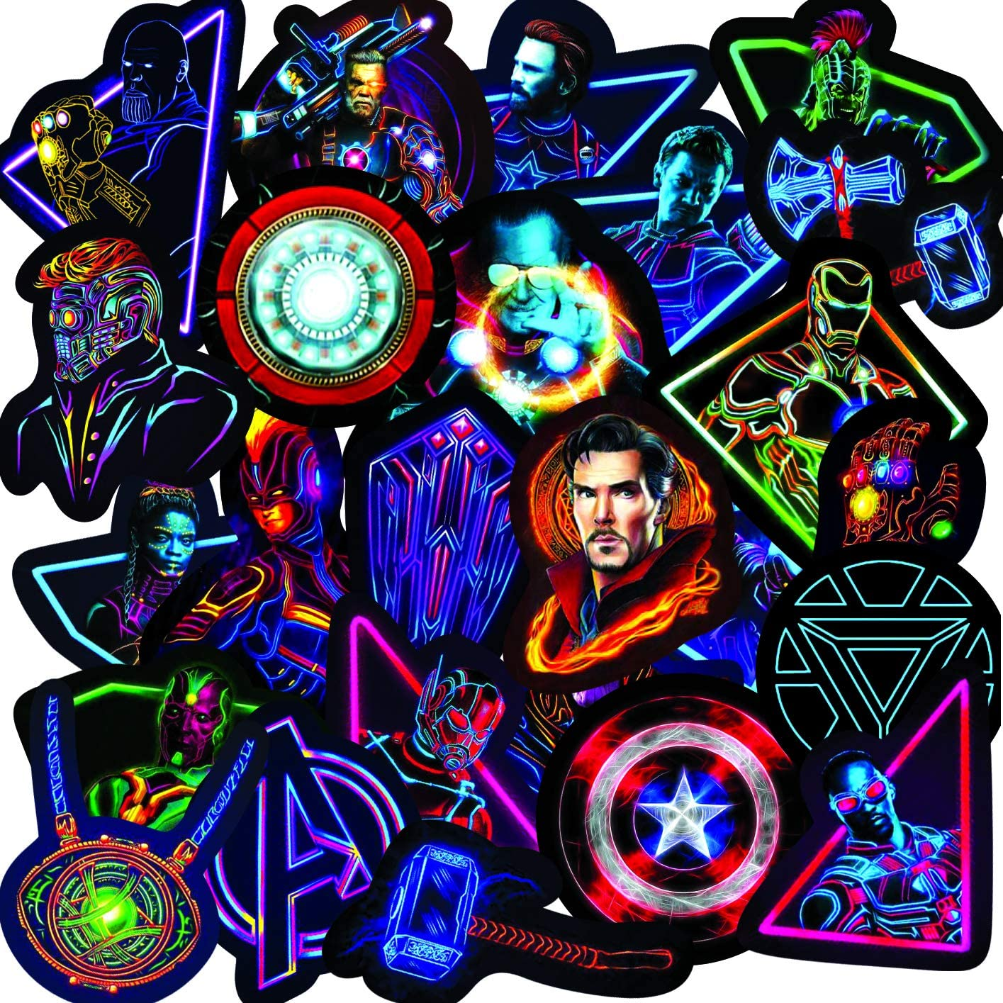 Neon Super Hero Stickers -30pcs Big,Marvel Sticker for Water Bottle Skateboard Motorcycle Luggage Waterproof Vinyl Decals for Stickers Decal(Superhero)