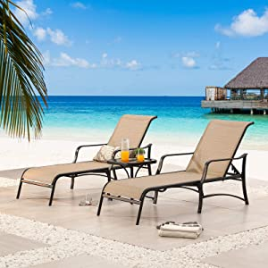 Sports Festival 3Pc Outdoor Lounge Chair Set of 2 Patio Chaises with Adjustable Backrest in 4 Reclining Levels and 1 Metal Furniture Bistro Table with Tempered Glass Top for Poolside Beach (Beige)