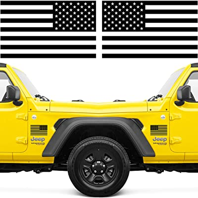 Narrow Minded American Flag Decal or American Flag Stickers for Trucks, 2 Pack Black with Clear Vinyl Self Adhesive Decal 6 Inches x 3.5 Inches for Your Truck or Cars, American Flag Sticker (Pair): Automotive