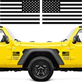 Narrow Minded American Flag Stickers for Trucks, Self Adhesive Black with Clear Vinyl, 6 Inches x 3.5 Inches (Pair)