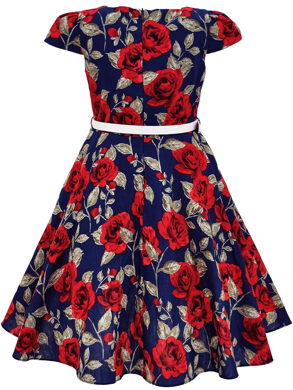 49951337d Amazon.com  Bonny Billy Girls Classy Vintage Floral Swing Kids Party Dresses   Clothing