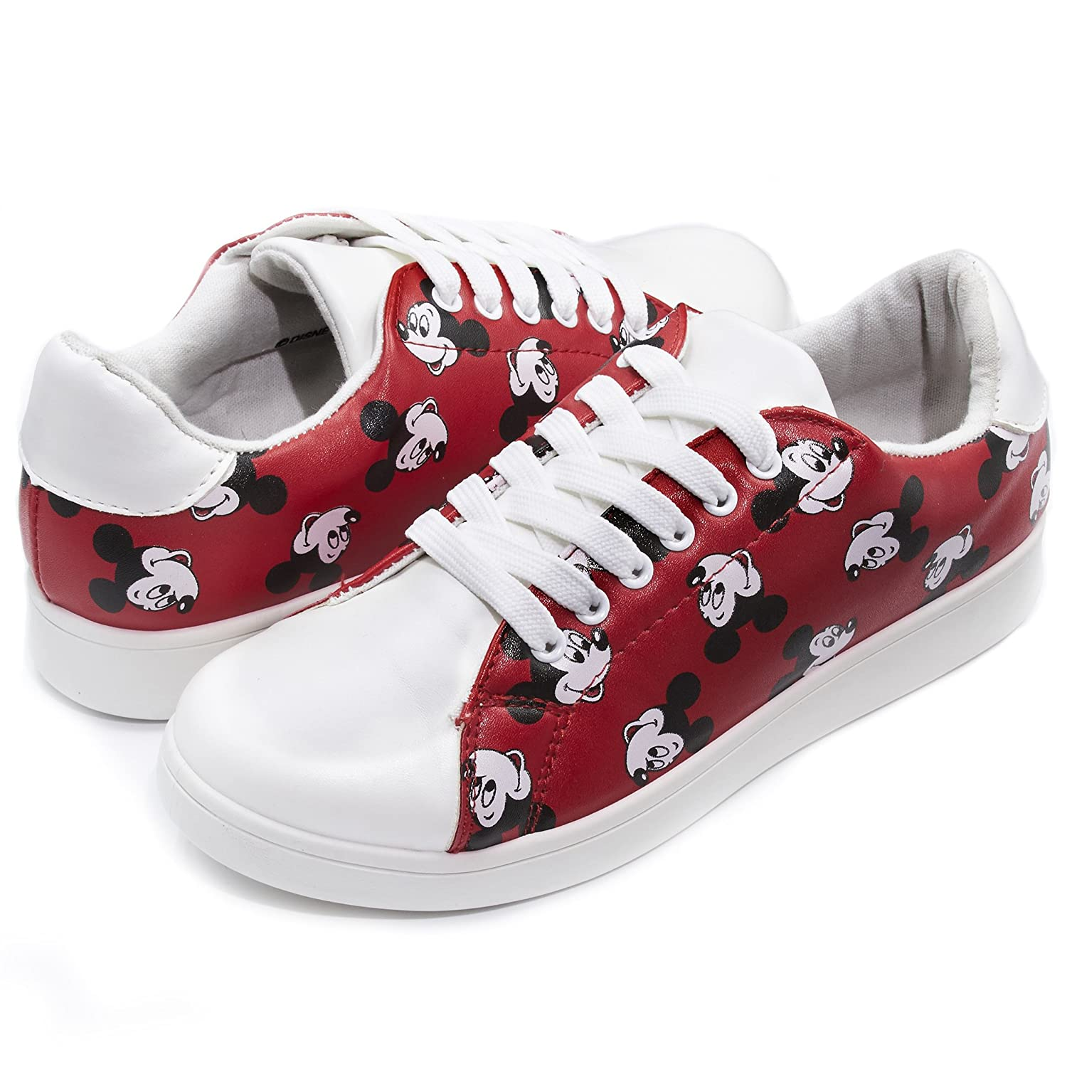 Disney Junior Teen Girls Low Top Mickey and Minnie Fashion Sneakers (See More Designs and Sizes) B074CJBP5R 6 B(M) US|Red