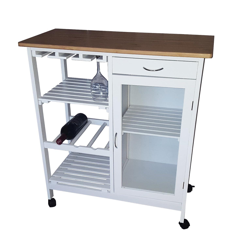 Amazon.com: JA Marketing Bamboo Kitchen Trolley, White: Kitchen & Dining