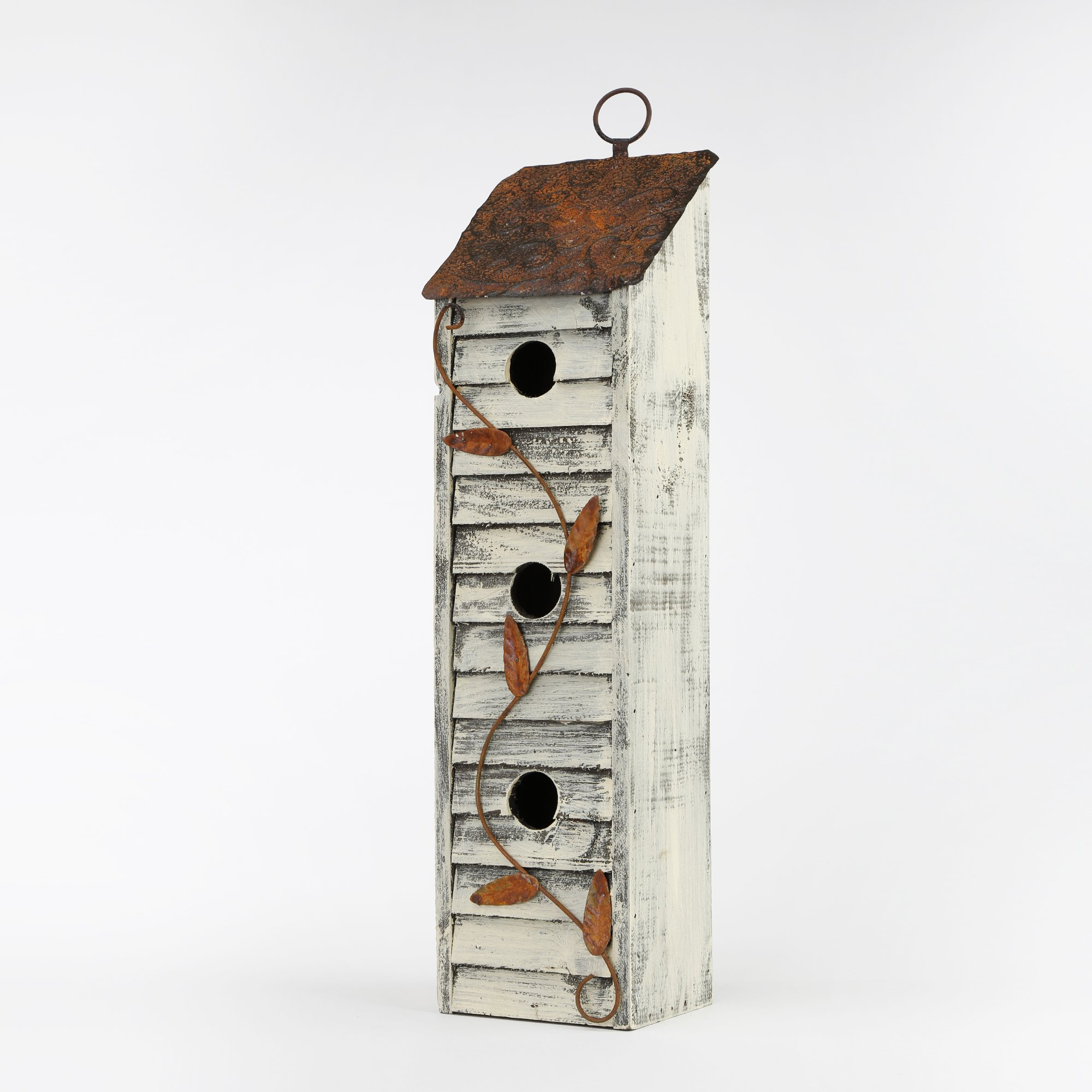 Glitzhome Tall Three-Tier Hand Painted Wood Birdhouse, 17.95''
