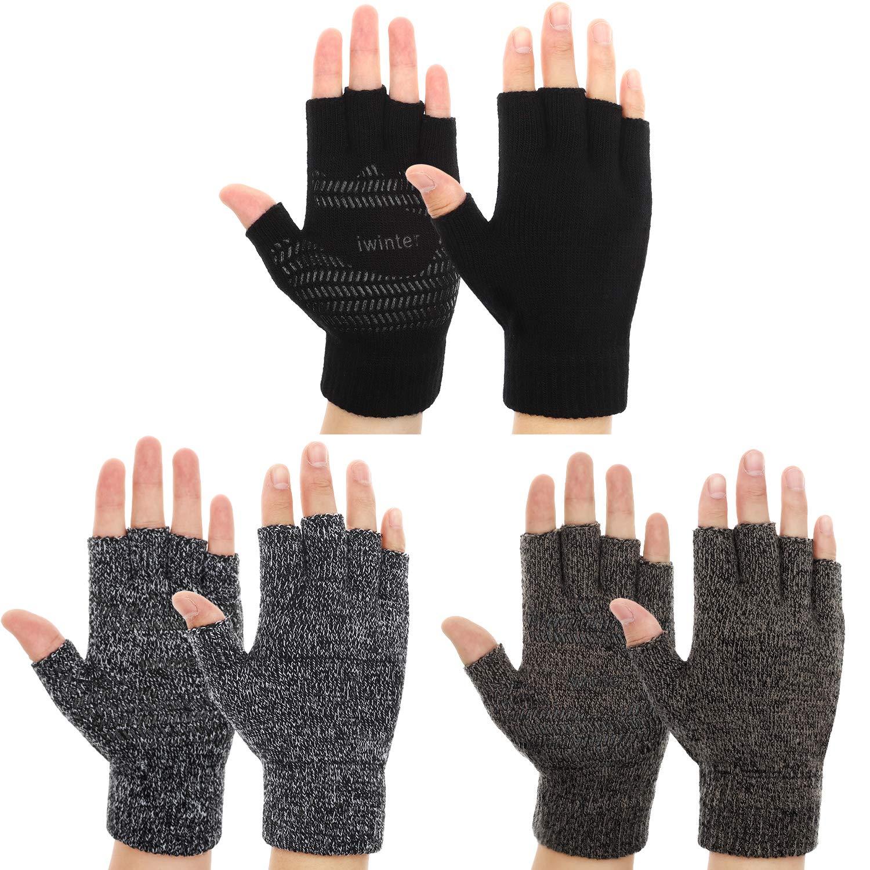 3 Pairs Winter Half Finger Knit Glove Stretchy Anti-Slip Fingerless Mitten for Unisex