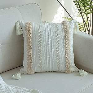 light Denim Blue Navy Embroidered Woven Geometric Stripe Pattern Pillow Cover Natural Linen Neutral Boho Modern Earthy Home Decor 18x18