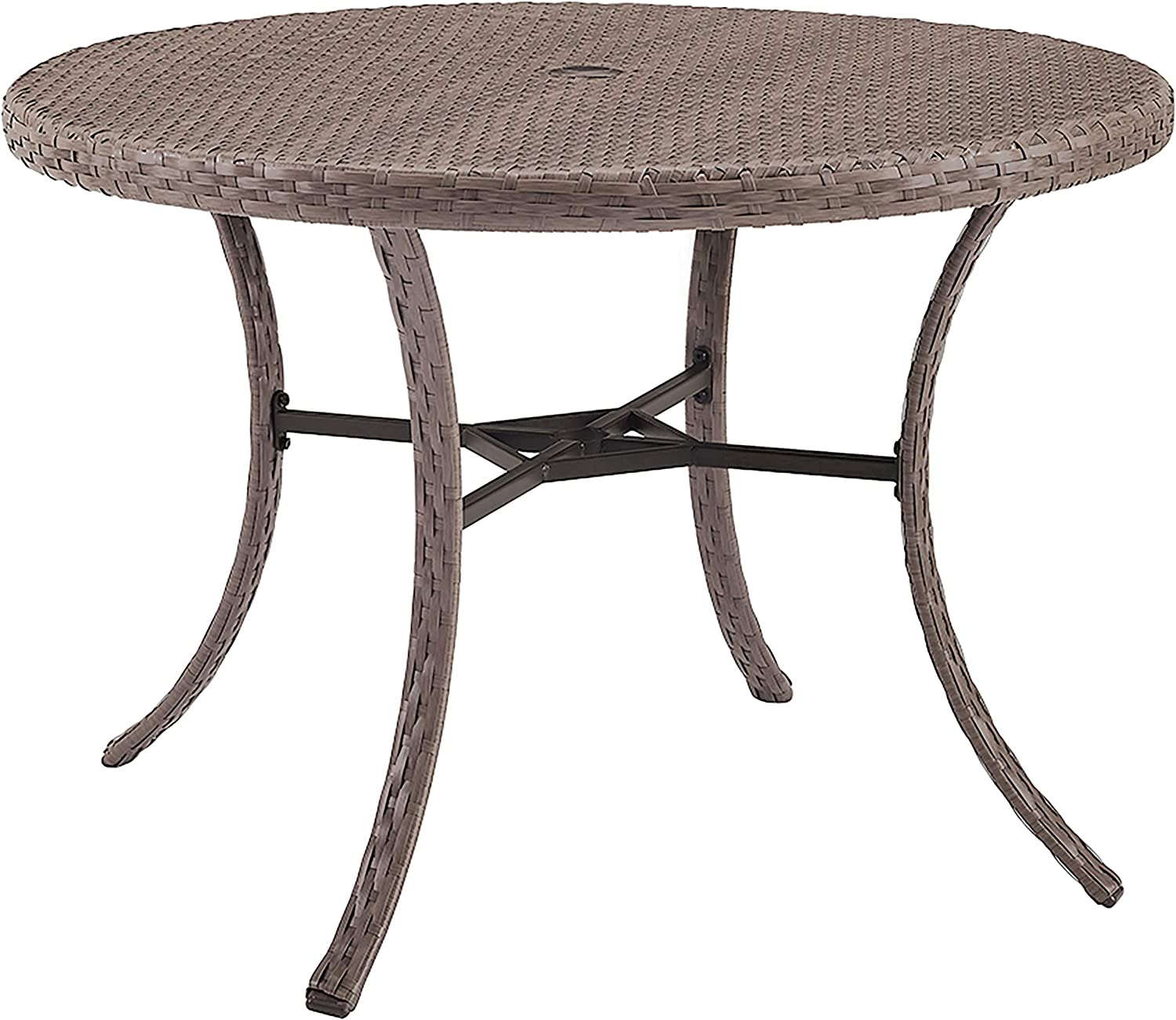 Crosley Furniture CO7239-DW Tribeca Outdoor Wicker Round Dining Table, Driftwood Grey