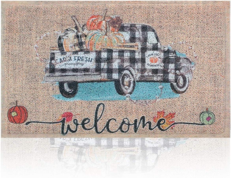 Doormat Outdoor Indoor Welcome Truck Mat Rustic Farmhouse Doormat,Waterproof Quick Catch Dirt Easy Clean Low-Profile Front Door Mats for Home Entrance Indoor High Traffic Areas,18x30