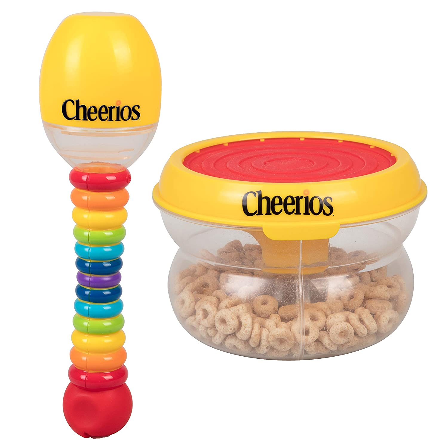Cheerios Baby Snack Drum Container & Maraca Food Dispenser 2 Pack - Toddler Spill Proof Feeding Containers for Food, Snacks, Cereal - BPA Free, PVC Free, Dishwasher Safe