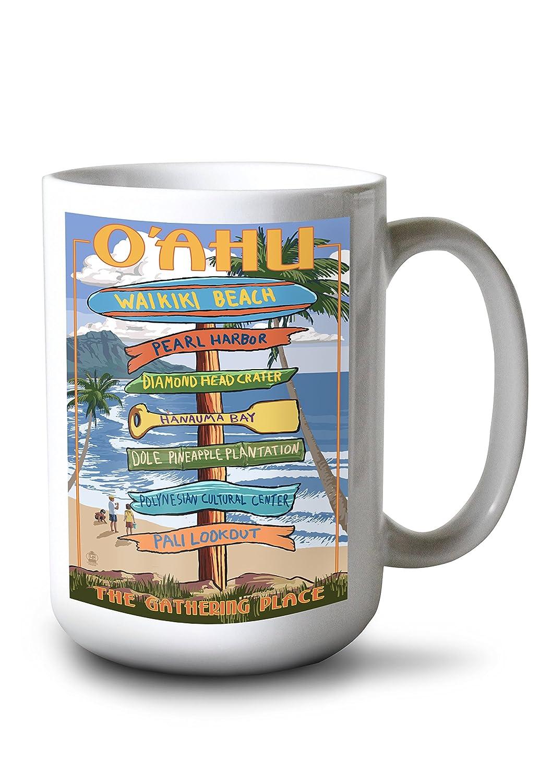 世界的に ワイキキ Canvas、オアフ島 Bag、ハワイ – Sign Destinations Canvas Tote LANT-45641-TT Bag LANT-45641-TT B077S1VXPZ 15oz Mug 15oz Mug, きもの遊美:9179a663 --- aikurei.co.jp