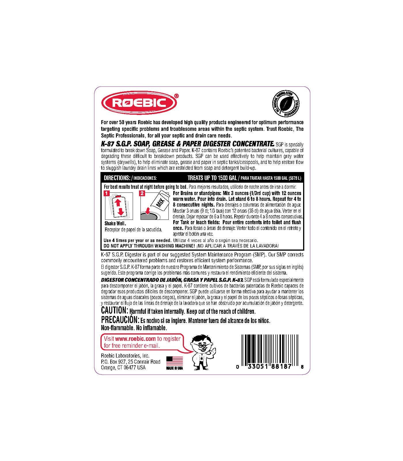 Roebic K-87-Q-C1500 SGP 32-Ounce Soap,Grease And Paper Digester Concentrate by Roebic (Image #2)