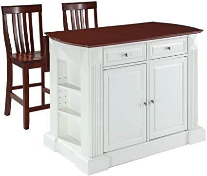 Crosley Furniture Drop Leaf Kitchen Island/Breakfast Bar With 24 Inch  Schoolhouse Stools