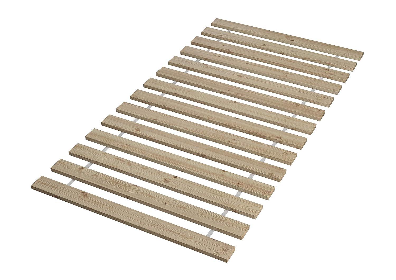 Erst-Holz Solido Largo Letto Bianco 120x200 in Pino Eco con doghe rigide e Materasso 60.54-12WM