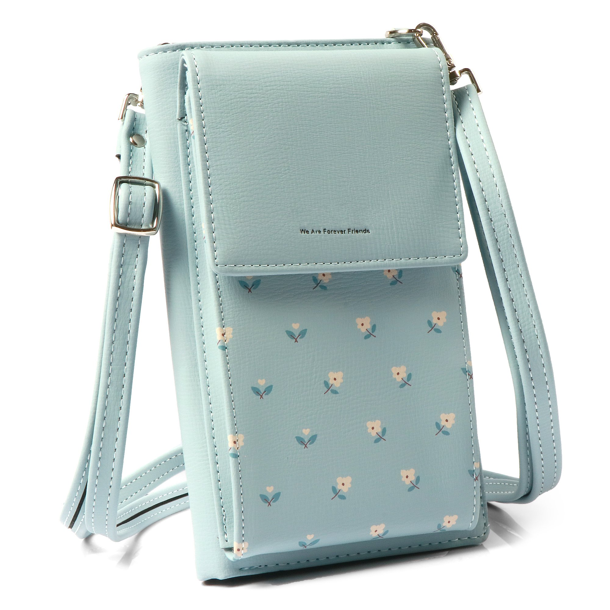 Small Crossbody Bag women Cellphone Purse Card Holder Wallet Cell Phone Pouch with Shoulder Strap (Blue)