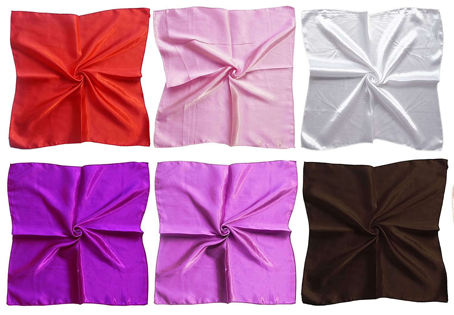 LilMents 12 Mixed Designs Small Square Satin Womens Neck Head Scarf Scarves Bundle Lot Set