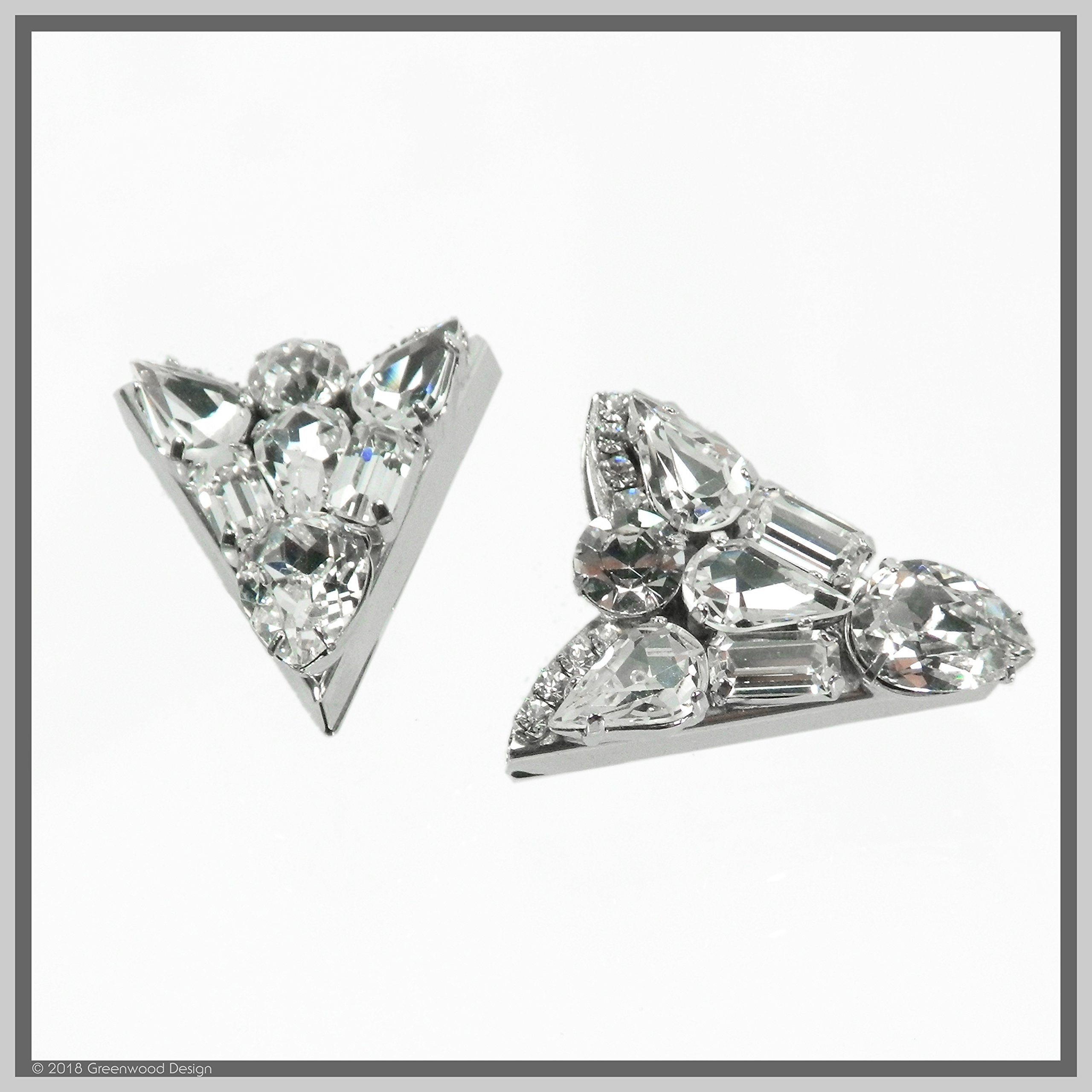 Vintage Antique Style Collar tips with Swarovski Crystal Western or Formal wear