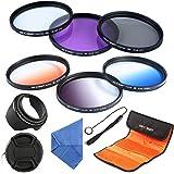 K&F Concept 58mm 6pcs Lens Filter Kit Slim UV + Slim CPL Circular Polarizing + Slim FLD + Slim Graduated Color Blue Orange Neutral Density ND4 Lens Filter Set