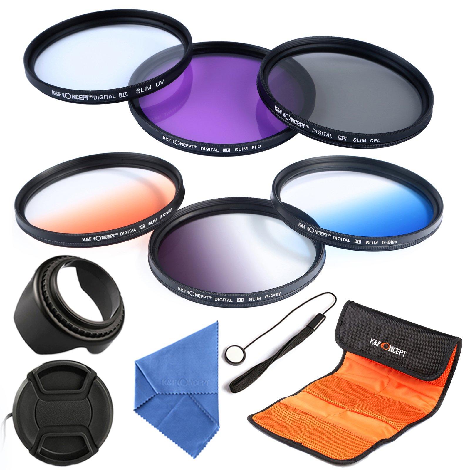 K&F Concept 55mm 6pcs Lens Accessory Filter Kit UV Protector Circular Polarizing Filter for Sony A37 A55 A57 A65 A77 A100 DSLR Cameras - Includes Filter Kit( UV+CPL+FLD,Graduated Color Blue,Orange,Gray) + Microfiber Lens Cleaning Cloth + Petal Lens Hood +
