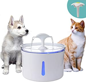 TOO TOO Cat Drinking Water Fountain, 84OZ/2.5L Automatic Water Dispenser with Replacement Filters,Water Level Window with Smart LED Light for Cats&Dogs, Multiple Pets
