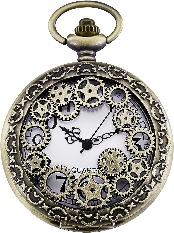 Morfong Reloj de Bolsillo Vintage Gear Hueco de Cuarzo Fob Relojes Steampunk para Hombres y Mujeres: Amazon.es: Relojes