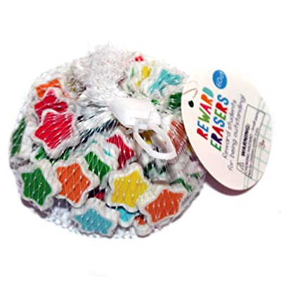"MFR (1) Mesh Bag Reward Mini Erasers 60 Pieces - Stars - Light Blue, Green, Yellow, Orange, Red Stars - 0.75"" Each: Arts, Crafts & Sewing"