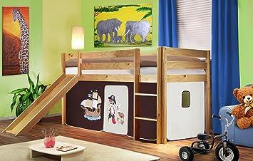 SHB//1035 Hochbett Kinderbett Spielbett Massiv Kiefer Natur SixBros